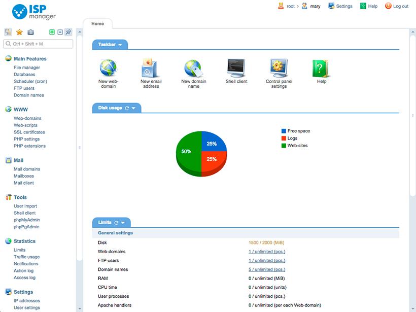 С ISPmanager Вы можете легко управлять вашим персональным сервером и обслуживать вебсайты.