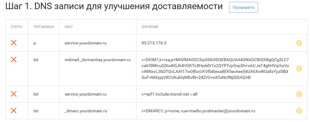 Шаг 1. DNS записи для улучшения доставляемости