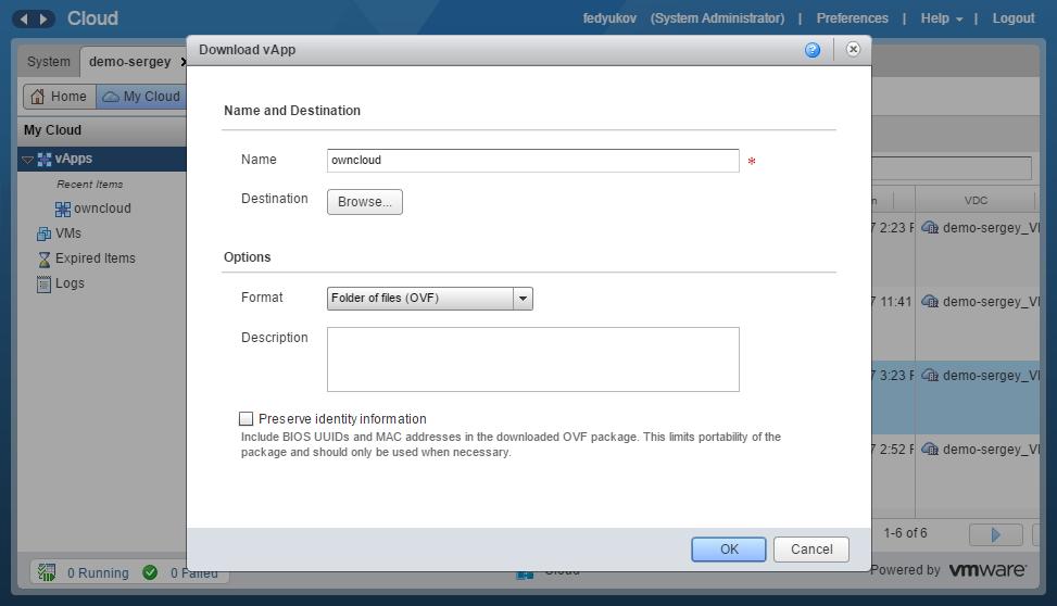 Выгрузка и загрузка виртуальных машин в VMware vCloud